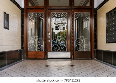 Grand entryway to an apartment building