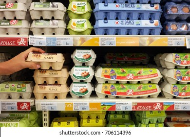 GRAND EST, FRANCE - AUGUST 16, 2017: Eggs cartons in a Super U supermarket. Millions of eggs are being recalled from stores in Europe after some were found to contain high levels of toxic insecticide.