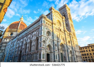 The grand facade of the Florence Cathedral, or Il Duomo di Firenze, in Tuscany