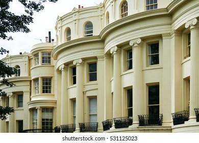 grand facade of regency period houses in brighton east sussex uk