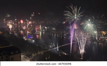 Grand Firework aerial New Years Eve in Frankfurt, Germany