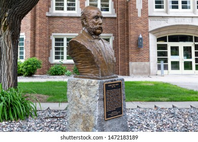GRAND FORKS, ND/USA - JUNE 28, 2019:  George Henry Walsh sculpture on the campus of the University of North Dakota
