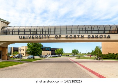 GRAND FORKS, ND/USA - JUNE 28, 2019:  Skyway and entrance to the campus of the University of North Dakota