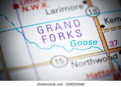 Grand Forks. North Dakota. USA on a map.