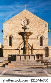 The Grand fountain and Evangelisos church in Rhodes town, Greece.
