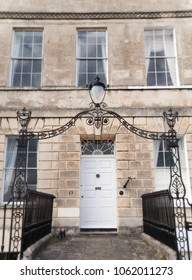 Grand Georgian entrance in Bath, UK with all original features.