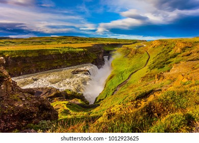Grand Golden Waterfall on the Hvitau River.  The most picturesque and popular waterfall in Iceland - Gullfoss. The concept of extreme and phototourism