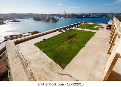 The Grand Harbour of Valletta and Saluting Battery. View from Upper Barracca gardens, Valletta, Malta