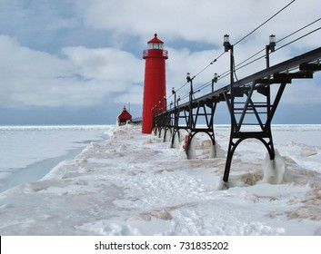 Grand Haven Lighthouse and a frozen Lake Michigan in winter