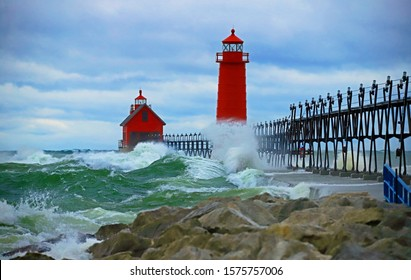 Grand Haven lighthouse in Michigan.
