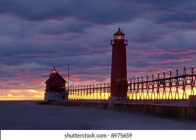 Grand Haven, Michigan Lighthouse at sunset, Lake Michigan, USA