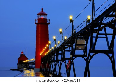Grand Haven Pier Lighthouse at Sunrise