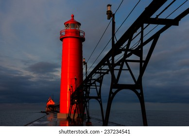 Grand Haven Pier Lights at Sunrise in Michigan