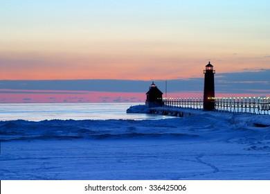Grand Haven Pier Sun Set in Winter.