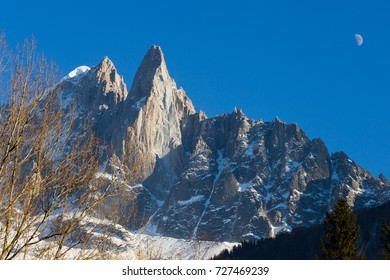 Grand Jorasses, Aiguille du Midi, French Alps. Ski resort. Chamonix Mont Blanc, Franc