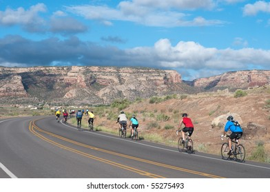 GRAND JUNCTION, CO - JUNE 13: 2000 participants cycle toward Colorado National Monument first day of 25th Annual Ride the Rockies tour at Grand Junction, Colorado, July 13, 2010