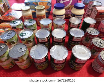 Grand Junction, CO / USA - March 10 2020: Stockpiling canned goods and other non perishable food items during the COVID19 pandemic
