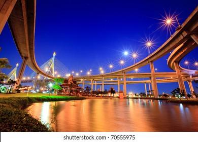 The Grand King Bhumibol Bridge under twilight, Bangkok, Thailand