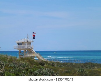 A grand, large, life guard station overlooking the beach next to Ponce Inlet in Central Florida.