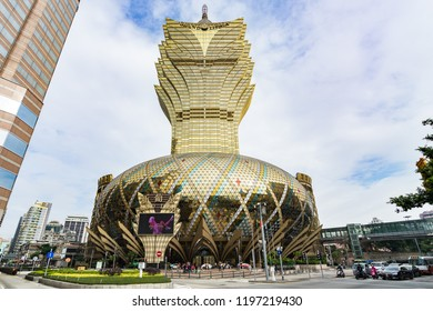 Grand Lisboa casino is the tallest building of Macau and one of the most famous landmarks. Macau, January 2018