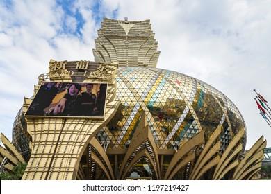 Grand Lisboa luxury hotel and casino has a distinctive architectural style. Macau, January 2018