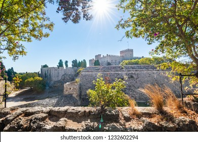Grand master palace and city walls of medieval city of Rhodes (Rhodes, Greece)