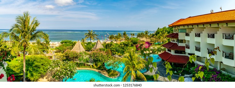 Grand Mirage Resort, Bali, Indonesia; 17- Oct- 2018; Beautiful Bali, A panoramic view from the balcony of Grand Mirage Resort with the sea and the pool