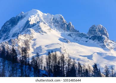 Grand Montets ski area above the ski resort of Argentiere in the French Alps