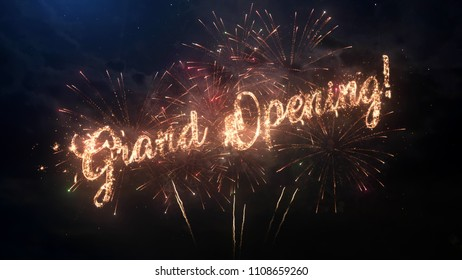 Grand Opening greeting text with particles and sparks on black night sky with colored fireworks on background, beautiful typography magic design.