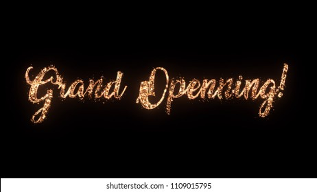 Grand Opening greeting text with particles and sparks isolated on black background, beautiful typography magic design.