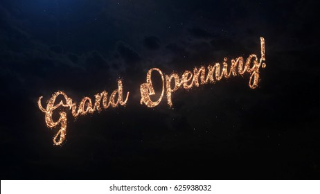 Grand Opening greeting text with particles and sparks on black night sky with colored slow motion fireworks on background, beautiful typography magic design.