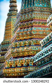 Grand Palace Bangkok Decorative Pagodas against blue sky
