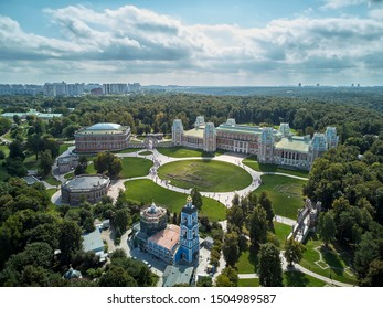 Grand palace of queen Catherine the Great in Tsaritsyno. Historical park Tsaritsyno is a landmark of Moscow. Beautiful view of the Tsaritsyno architecture in summer. Aerial drone view