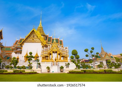 The Grand Palace  of Thailand in bangkok, built in 1782, made up of numerous buildings, halls, pavilions set around open lawns, gardens and courtyards