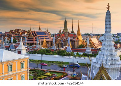 Grand palace and Wat Phra Keaw at sunset Bangkok, Thailand. Beautiful Landmark of Thailand. Temple of the Emerald Buddha. The city of grand view. landscape of the capital city