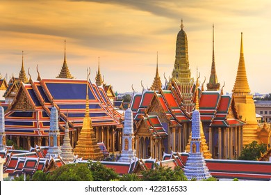 Grand palace and Wat Phra Keaw at sunset Bangkok, Thailand. Beautiful Landmark of Thailand. Temple of the Emerald Buddha.  landscape of the capital city
