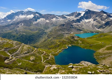 Grand Paradiso National Park: view from the col nivolet on lake Serru and Agnel aand Gran Carro Mountain