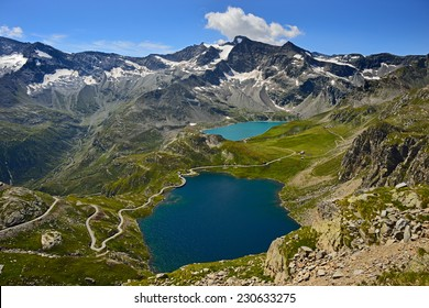 Grand Paradiso National Park: view from the col nivolet on lake Serru and Agnel and Gran Carro Mountain