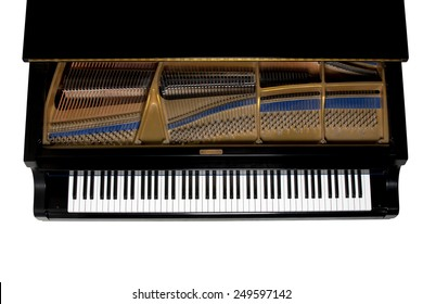 Grand piano.  Close up showing keys, harp, and hammers.  Viewed from above.  Isolated on white.