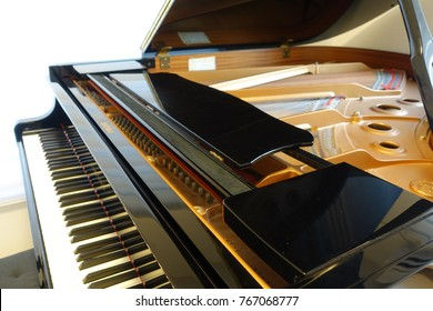 Grand piano, with cover open