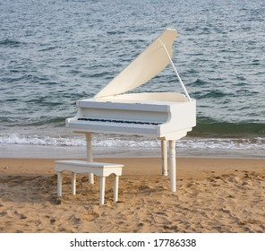 grand piano on the seacoast (beach)
