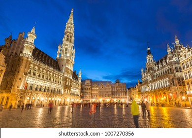 Grand Place in Brussels Belgium suset twilight.