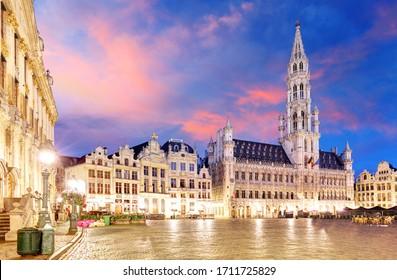 Grand Place in Brussels in night, Belgium