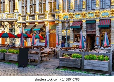 Grand Place (Grote Markt) with tables of cafe in Brussels, Belgium. Grand Place is important tourist destination in Brussels. Cityscape of Brussels.