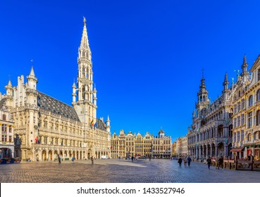 Grand Place (Grote Markt) with Town Hall (Hotel de Ville) and Maison du Roi (King's House or Breadhouse) in Brussels, Belgium. Grand Place is tourist destination in Brussels. Cityscape of Brussels.