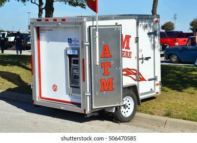 Grand Prairie, Texas- Oct.29,2016  Portable ATM trailer at local car swap meet.