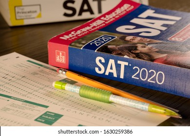 Grand Prairie, TX/US Jan 2020: SAT prep books with scantron sheets and pencils. The SAT is a  test that young students take for colleges