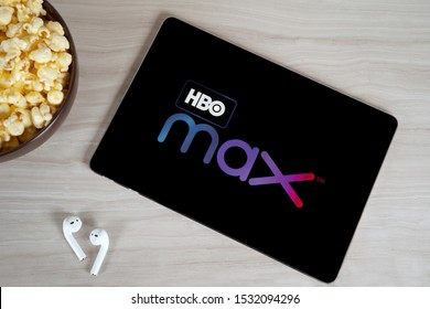 Grand Prairie, TX/USA Oct 2019: HBO Max logo on tablet screen. HBO Max is a new streaming service for watching premium video content.