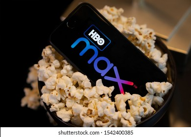 Grand Prairie, TX/USA Oct 2019: HBO Max logo on smartphone screen. HBO Max is a new streaming service for watching premium video content.