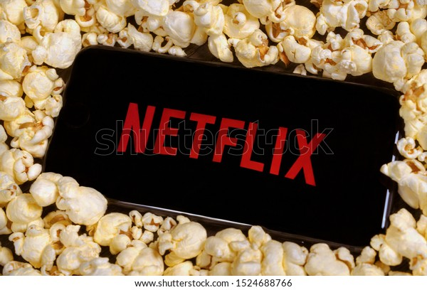 Grand Prairie, TX/USA Oct 2019: Netflix logo on a smartphone. Netflix is a streaming service for watching movies and TV shows.